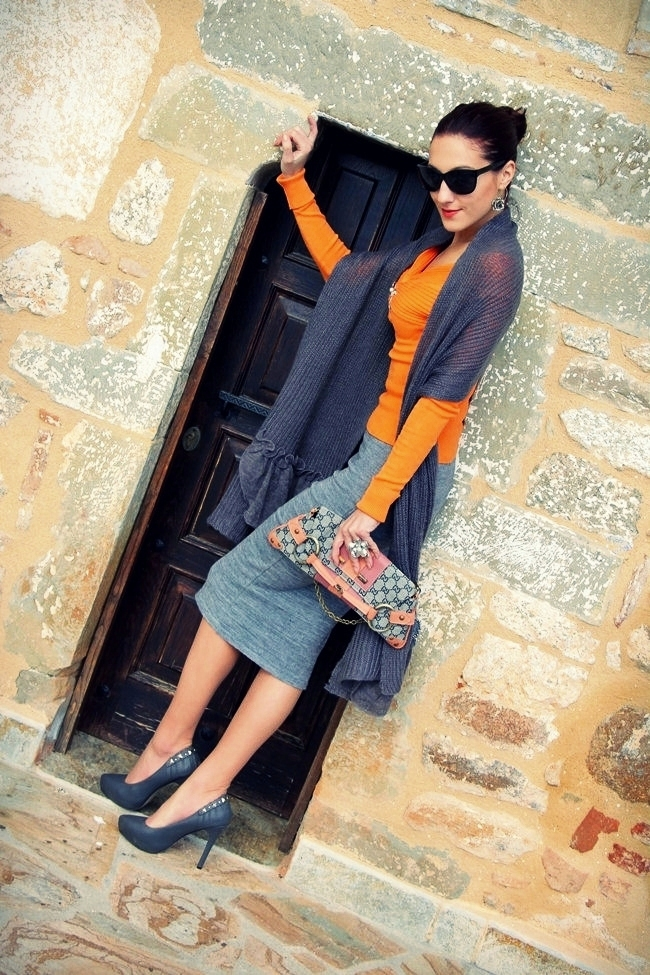orange and gray knitwear outfit ideas