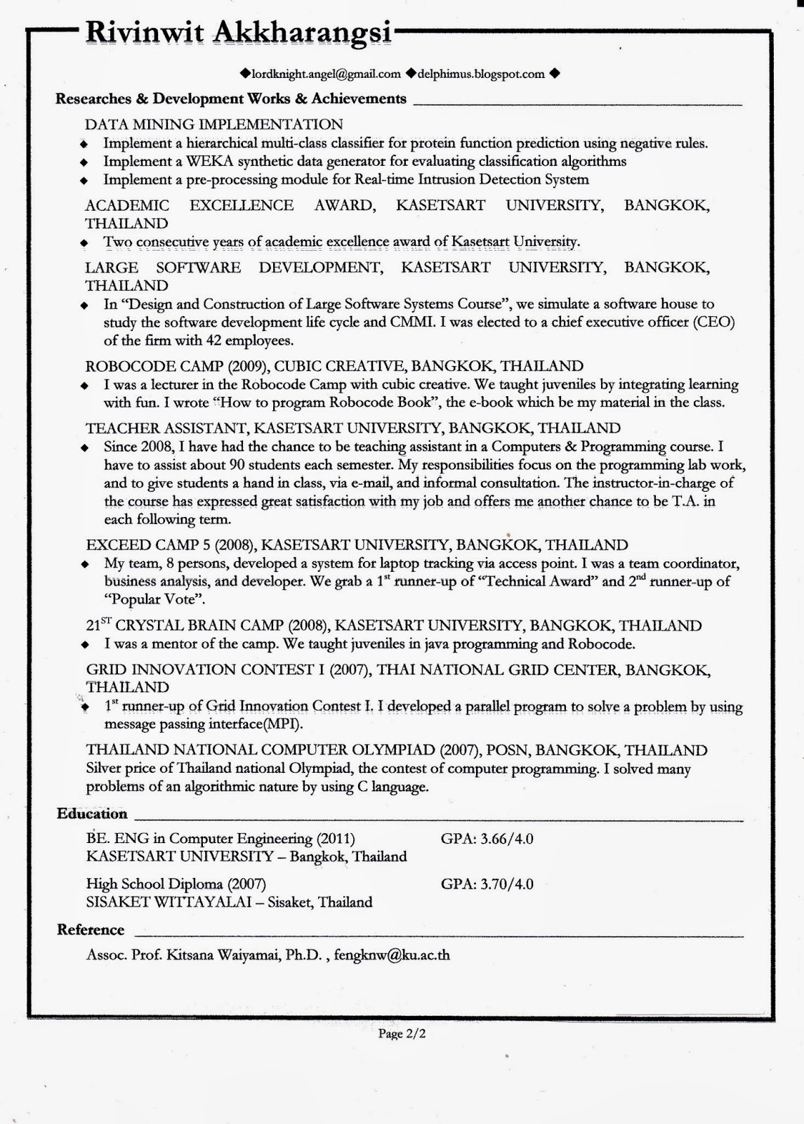 english for careers and engineering  sample resume it data