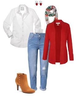 Look de natal: Jeans, botins de salto camel, camisa branca, cardigan vermelho, lenço padrão natalício