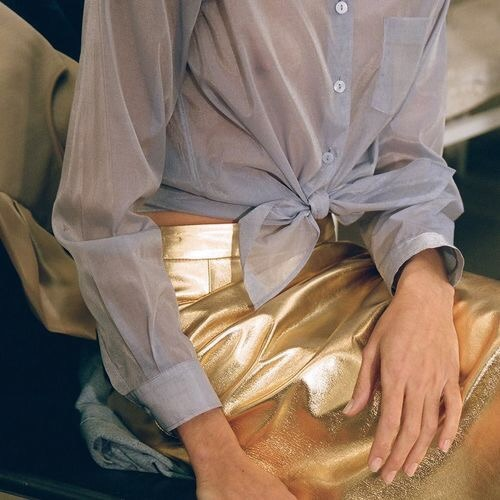 Gold Leather Skirt Glamour