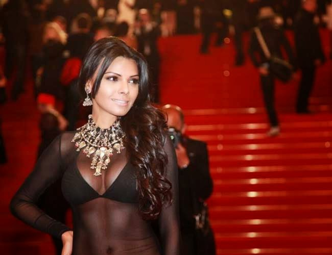 Sherlyn-Chopra-Cannes-See-through-Black-dress