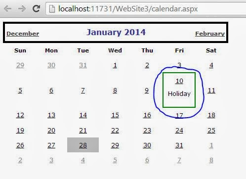 Add Text with day in Calendar, ASP.NET Example