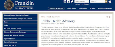 Attention Franklin Residents: Public Health Advisory - West Nile Virus