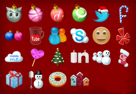 special Christmas social icon set