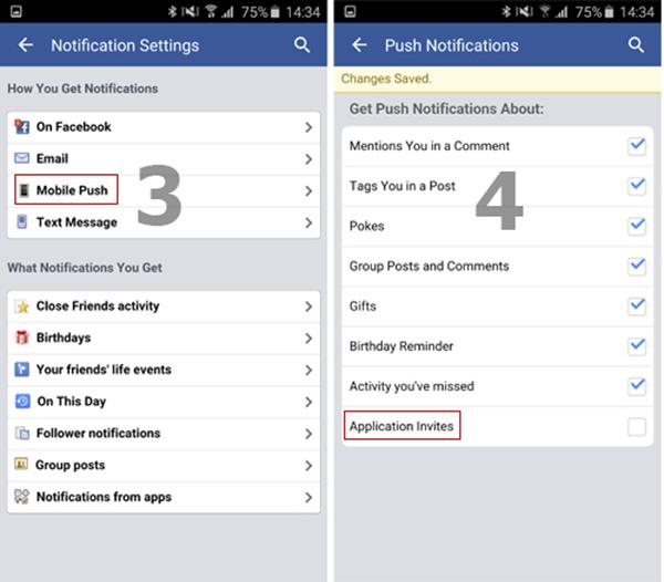Hướng dẫn tắt thông báo mời chơi game trên facebook qua điện thoại