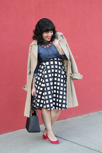 Trench Coat, Denim Button Down and Check Print A-Line Skirt Work Outfit | Will Bake for Shoes