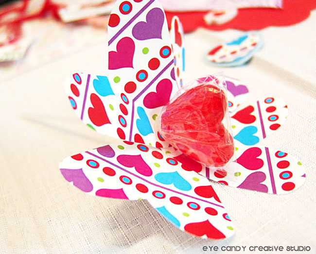 flower lollipop valentines, kids valentines craft idea, school party craft