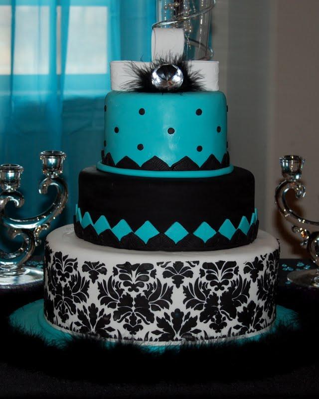 Cakefilley Turquoise And Black Wedding Cake