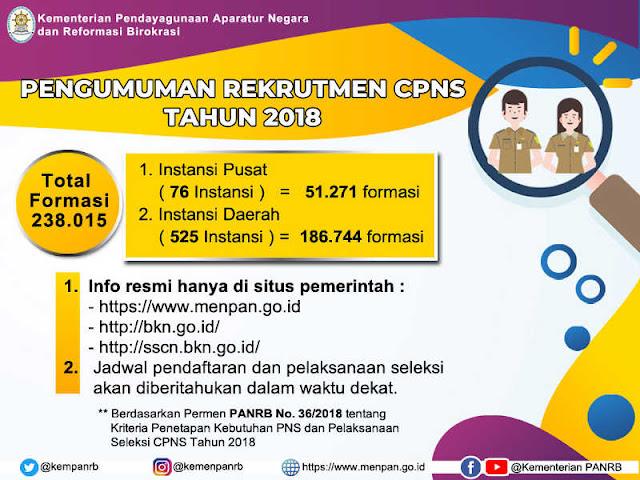 Kementerian PANRB Buka Lowongan 128.015 Formasi CPNS Tahun 2018