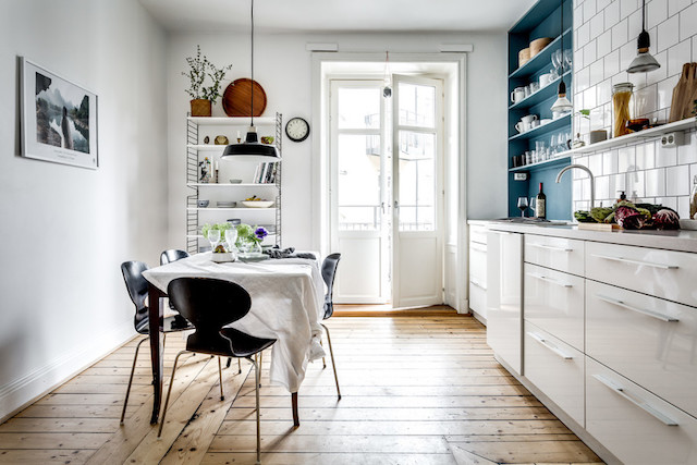 A Lovely Swedish Kitchen Amongst Blueish Accent