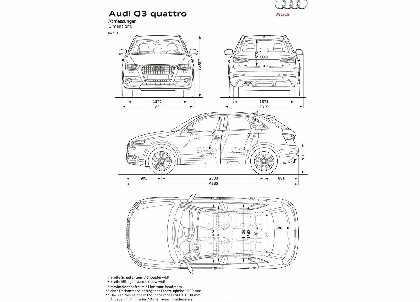 Audi Q3 Exterior Dimensions