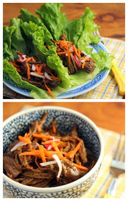 Slow Cooker Shredded Hoisin Beef Lettuce Wraps or Sliders from The Perfect Pantry found on SlowCookerFromScratch.com