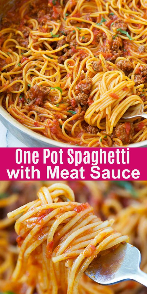 One Pot Spaghetti with Meat Sauce Recipe