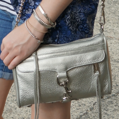 silver bracelet stack, Rebecca Minkoff metallic mini MAC bag | AwayFromTheBlue