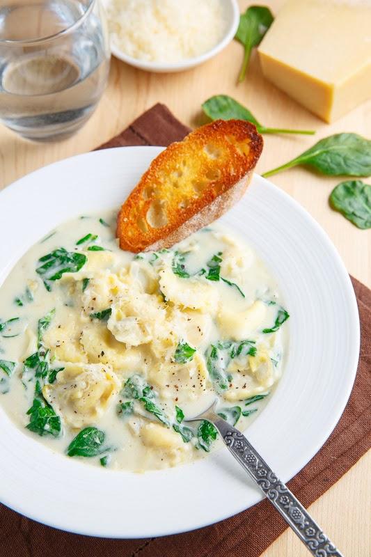 Spinach and Artichoke Dip Tortellini Soup