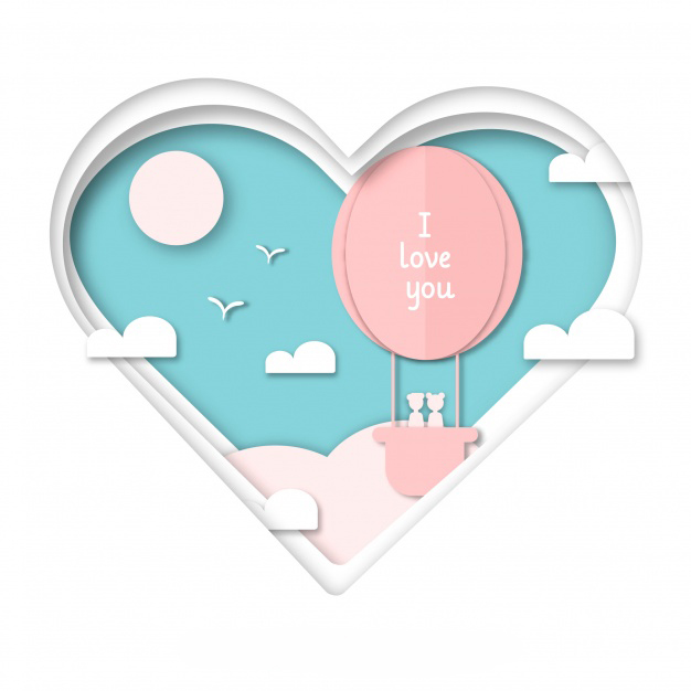Valentine's day background with heart shape cut out Free Vector