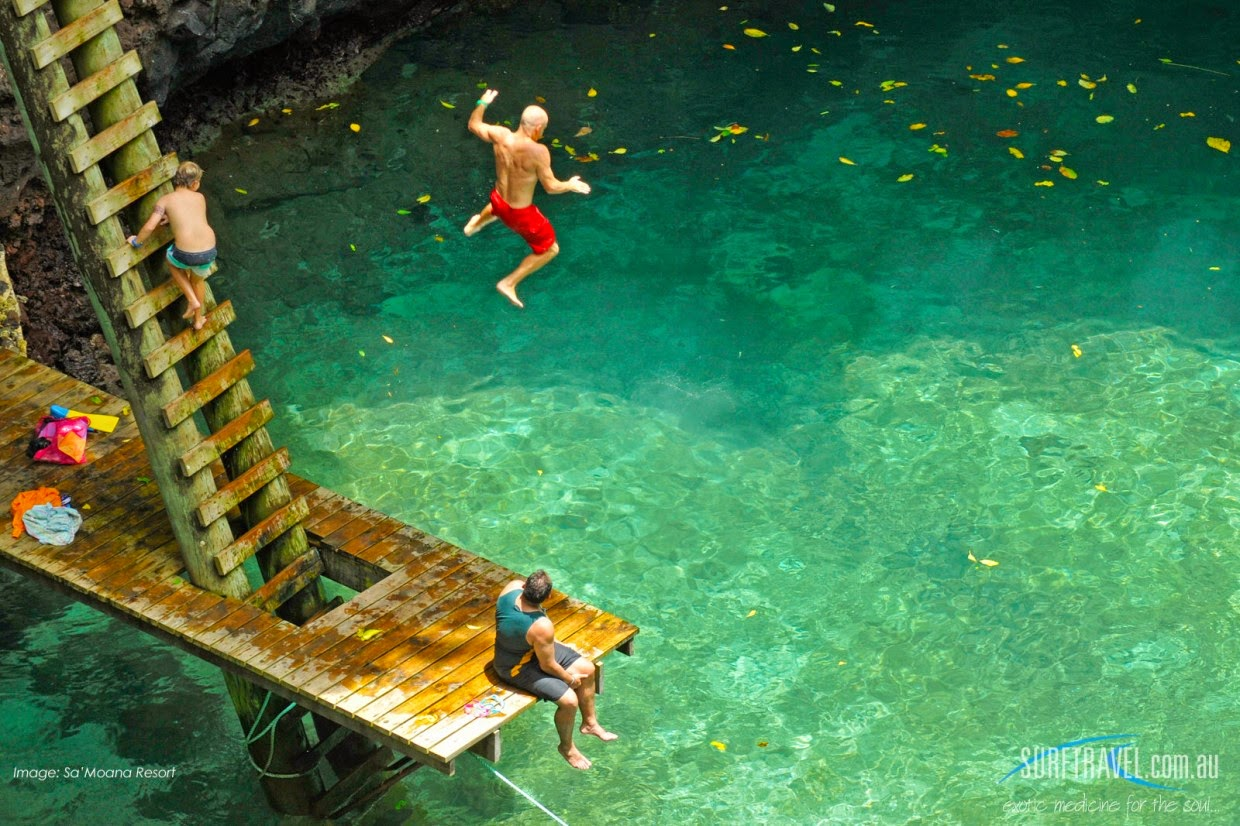 #7. To Sua Ocean Trench, Upolu, Samoa is all natural swimming hole is located in the village of Lotofaga in Samoa formed by a massive balastic shield volcano. - 12 Places To Swim With The Clearest, Bluest Waters. #2 Wow!