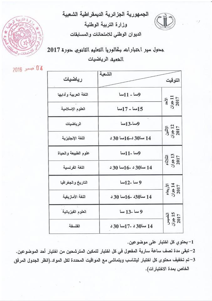 جدول سير اختبارات شهادة البكالوريا الرياضيات :