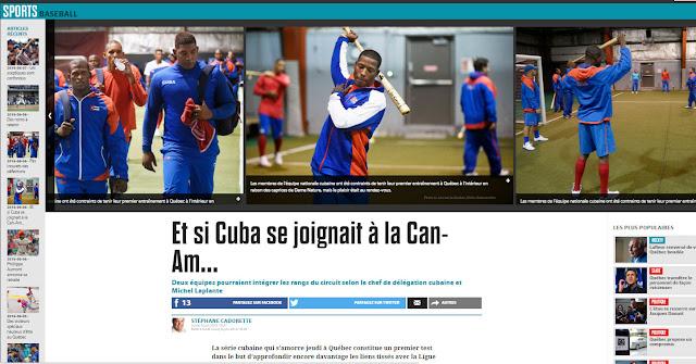 Beisbol cubano en la portada del  LE JOURNAL DE QUÉBEC