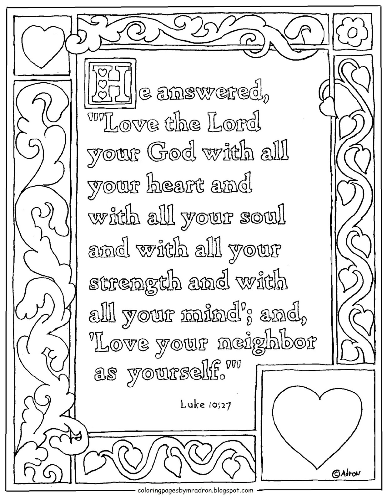 Coloring Pages For Kids By Mr Adron Luke 10 27 Printable Coloring Page Love God With All Your