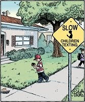 Bizarro: 'Slow children texting' or 'Slow, children texting'.
