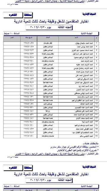 اسماء المقبولين فى مسابقة النيابه الاداريه من حملة المؤهلات