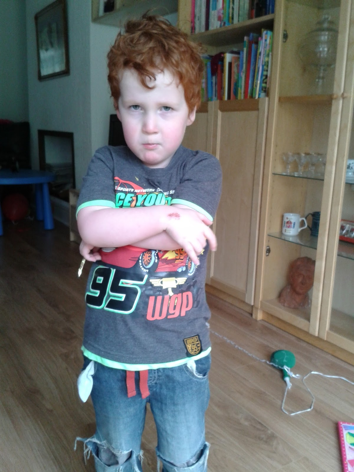 disciplining boys - Ieuan in his defiant pose