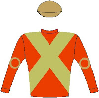 Doublemint - Silks - Horse Racing - Scarlet, gold crossed sashes, scarlet sleeves with gold circle, gold cap
