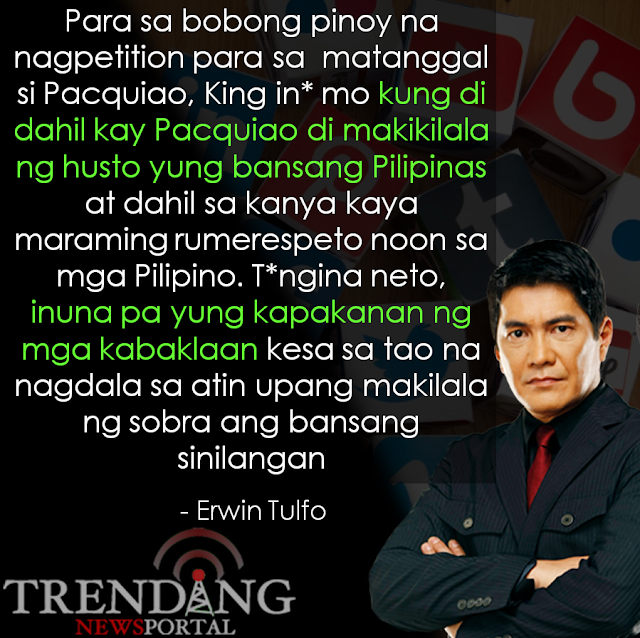 Erwin Tulfo released a controversial statement about the issue involving Manny Pacquiao!