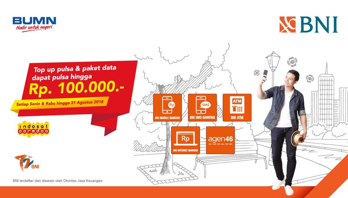 Bank BNI - Gratis Pulsa s.d 100 Ribu Top Up Pulsa & Paket Data Indosat