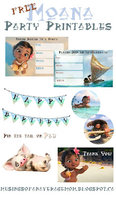 free moana party printables