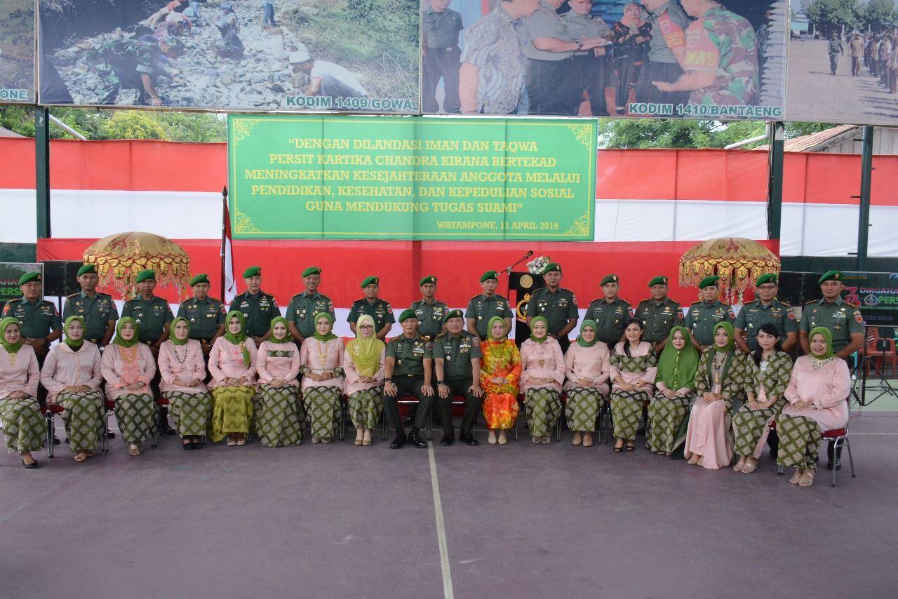 Puncak Peringatan HUT Persit KCK ke 73 di Makorem 141/Tp Dilaksanakan Syukuran