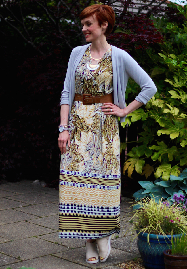 Fake Fabulous | How to wear a maxi dress | Bonmarche maxi dress, silver cardigan, nude peep toe booties,