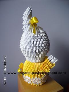 Zajączek wilekanocny - origami 3d, modułowe.