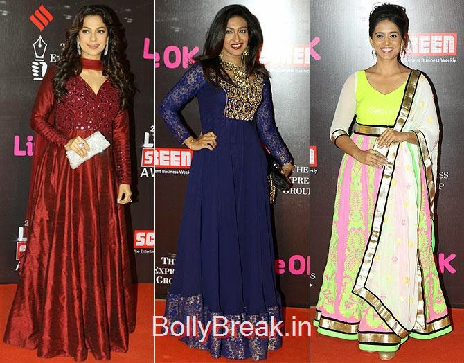 Juhi Chawla, Rituparna Sengupta, Sonali Kulkarni, Life Ok Screen awards 2015 Red Carpet Hot Pics