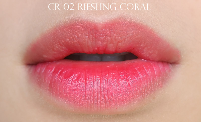 Labiotte Wine Lip Tints Review and Swatches of CR02 Riesling Coral