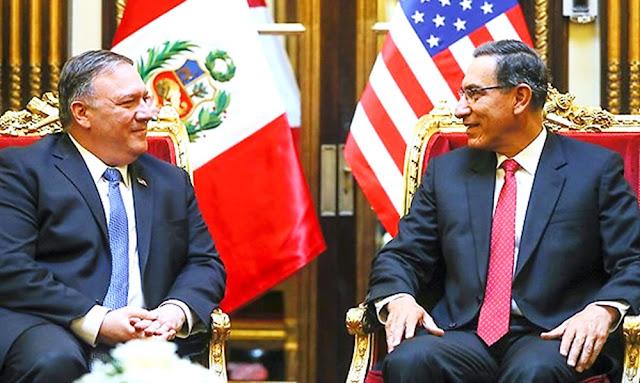 Mike Pompeo y Martín Vizcarra en Palacio de Gobierno