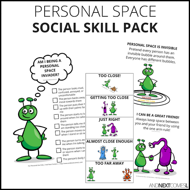 Space themed personal space social skill pack for kids from And Next Comes L