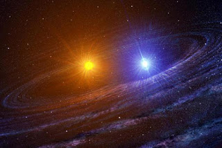 Image of Artist's Rendition of Double Star System Albireo in Cygnus