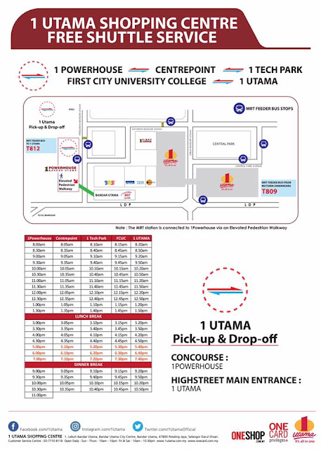 1 Utama Shopping Centre Free Shuttle Bus Service Schedule MRT Station