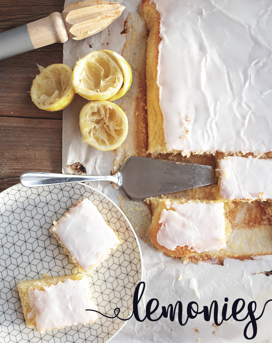 Lemonies Zitronen Brownies Zitronenkuchen Zuckerguss
