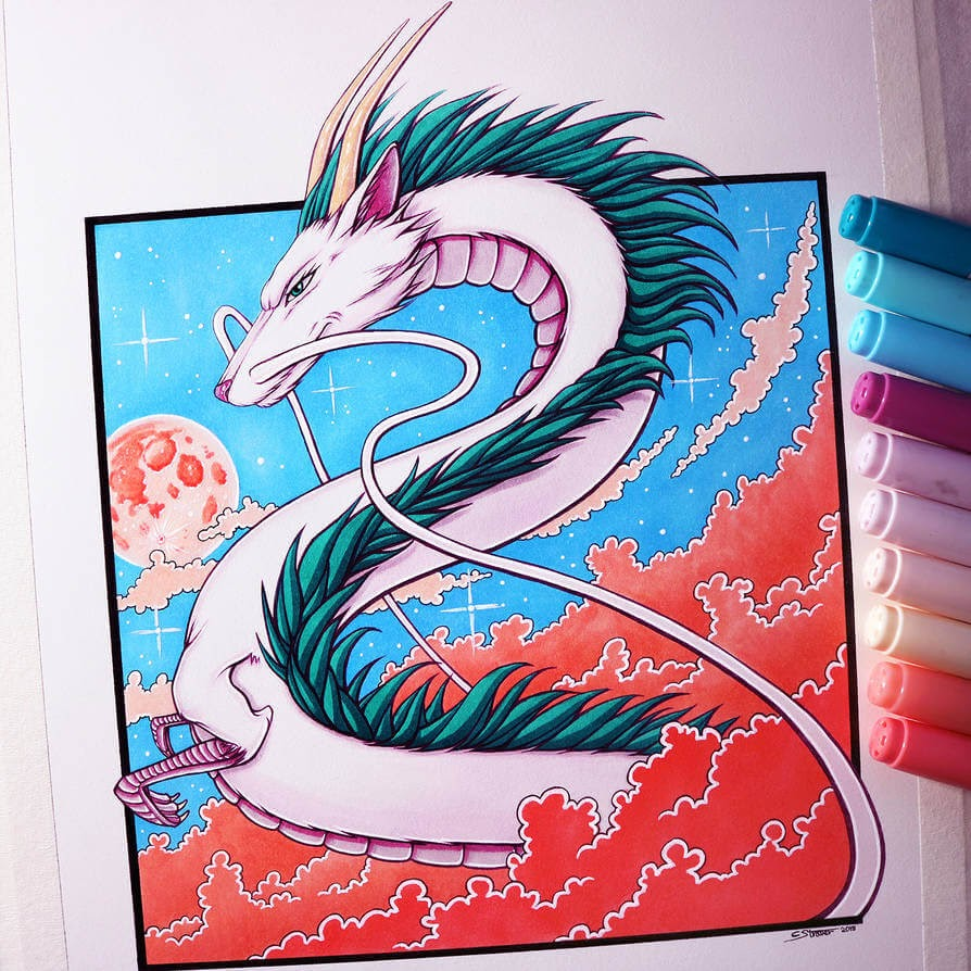 06-Haku-from-Spirited-Away-C-Straver-Fantasy-Movie-Characters-Drawings-www-designstack-co