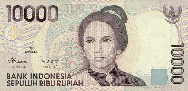 Indonesia Currency 10000 Rupiah banknote 1998 Cut Nyak Dhien