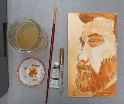 portrait of ryan statz, by verna vogel - marker and watercolour on matboard