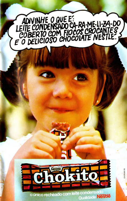 Propaganda do chocolate Chokito da Nestlé em 1979. Campanha famosa apresentava os ingredientes do chocolate.