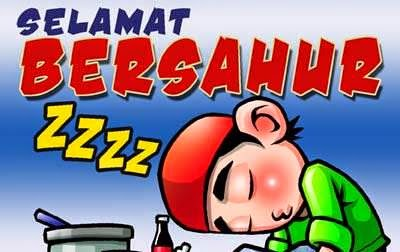 Gambar Kartun Ucapan Selamat Sahur Puasa Ramadhan Lucu