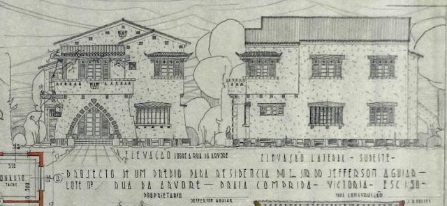 ID 455 - Projeto de um prédio para residência à rua da Árvore [atual rua Eurico de Aguiar], Praia do Canto, Vitória, proprietário Jefferson Aguiar, janeiro de 1941.