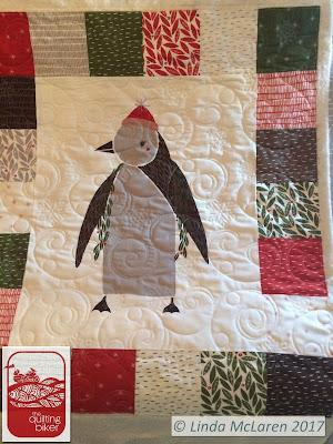 Penguin wall hanging QuiltingBiker longarm quilting