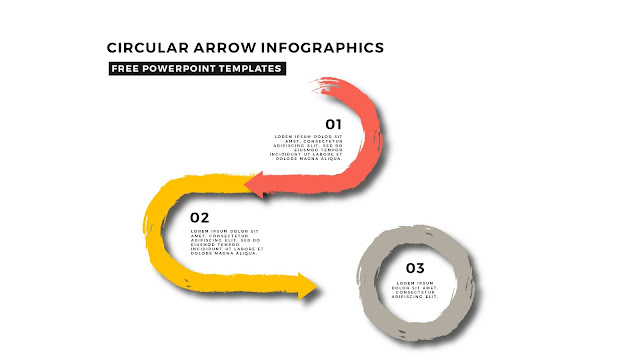 Circular Brush Stroke and Arrow Infographic Free PowerPoint Template Slide 1