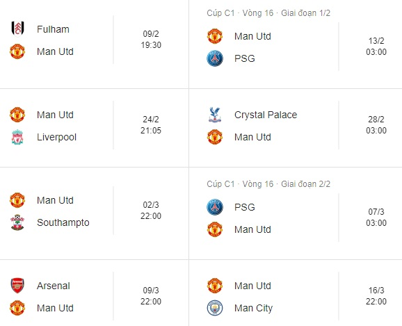 Lịch thi đấu của Man Utd sắp tới 'khủng khiếp' cở nào